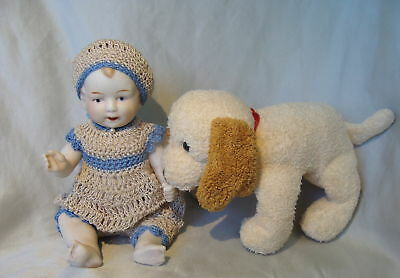 Antique German*all Bisque Doll*mignonette Boy Doll*germany Doll*outfit & Pet Dog