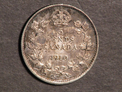 CANADA 1910 5 Cents Silver XF