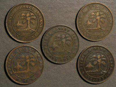 CANADA-PRINCE EDWARD ISLAND 1871 1 Cent - Lot of 5 Coins