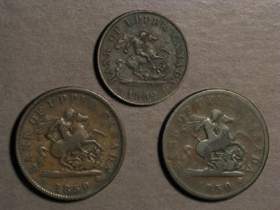 CANADA-UPPER 1850-1852 1/2-1 Penny Tokens - 3 Coins