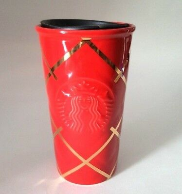 Starbucks 2016 Red Quilted Double Wall Traveler  - 10 fl oz _ New