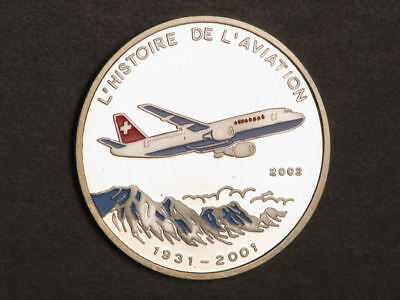CONGO 2002 500 Francs Swiss Air Jet Colorized Silver Choice Proof