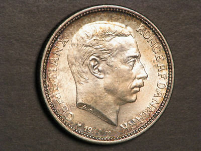 DENMARK 1930 2 Kroner King 60th Birthday Silver Choice BU