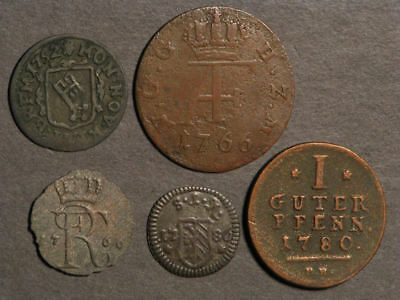 GERMAN STATES 1752-1786 Lot of 5 Assorted Copper Coins