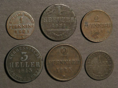 GERMAN STATES 1821-1848 Lot of 6 Assorted Coins