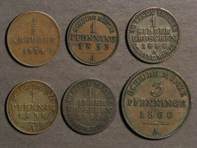 GERMAN STATES 1850-1860 Lot of 6 Assorted Coins