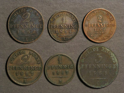 GERMAN STATES 1862-1868 Lot of 6 Assorted Copper Coins