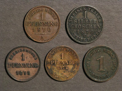 GERMAN STATES 1870-1874 Lot of 5 Assorted Coins