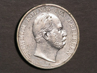 GERMANY-PRUSSIA 1866A 1 Thaler Regular Issue Silver XF