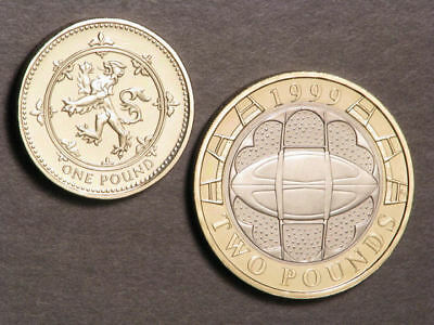 GREAT BRITAIN 1999 1-2 Pounds Proof - 2 Coins