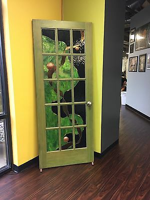 Vintage Architectural Salvage Interior Door With Oriental Style