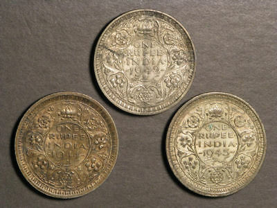 INDIA 1942-44-45 1 Rupee Silver - 3 Coins Avg. VF-XF
