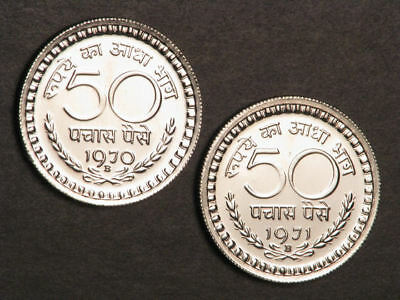 INDIA 1970-1971B 50 Paise Proof - 2 Coins