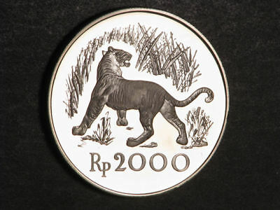 INDONESIA 1974 2000 Rupiah Javan Tiger Silver Crown Choice Proof