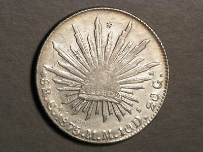 MEXICO 1875CaMM 8 Reales Silver Crown XF