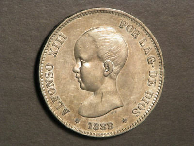 SPAIN 1888MP-M 5 Pesetas Silver Crown XF-AU
