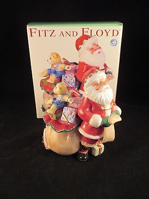 Fitz and Floyd Essentials Santa's Flight Covered Candy Dish, NIB box