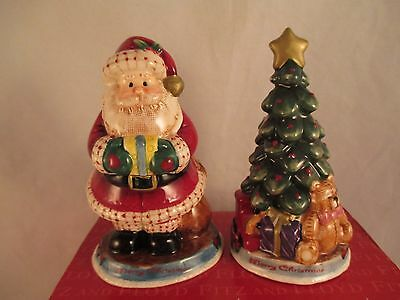 Fitz and Floyd 2005 Fireplace Santa Salt and Pepper Shakers in Box