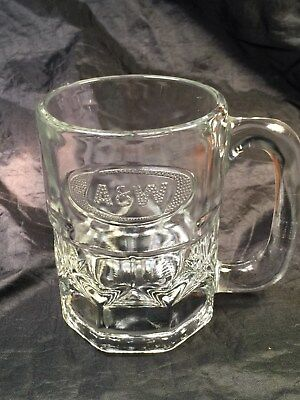 Vintage A & W ROOT BEER GLASS MUG HEAVY RAISED EMBOSSED OVAL LOGO 8 OZ