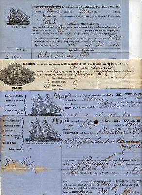 Shipping Ship Way Bill Group All Illustrated With Ships Mastheads 1851-1861 Nice