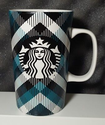 Starbucks Ceramic 2015 16 fl oz Coffee Mug Cup Green Black White Plaid
