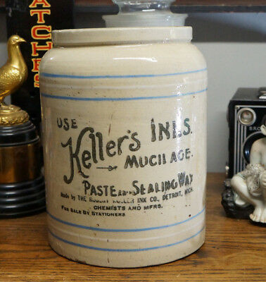 "Antique Keller's Inks Paste Sealing Wax Jar Crock Detroit Michigan 9"" Tall"