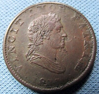 1811 British Copper Company Halfpenny Token Napoleonic Era - Obverse Die Failure