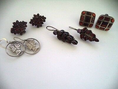 Lot of 4 sets of sterling silver and garnet earrings *pretty*