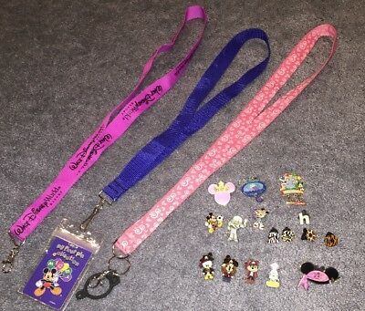 Lot OF 16 Disney Trading Pins Pirates Of Caribbean Minnie Mickey & 3 Lanyards