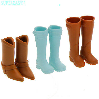 3 Sports Shoes Brown Blue Martin Boots Toy Accessories For Barbie Flat Feet Doll