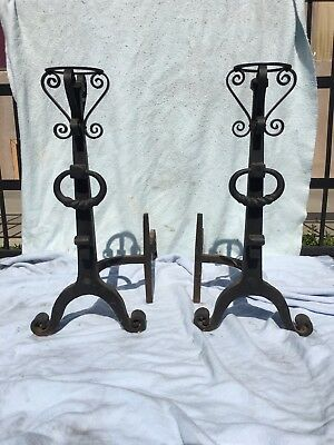 HUGE Vintage Hand Hammered Vintage Fireplace Andirons