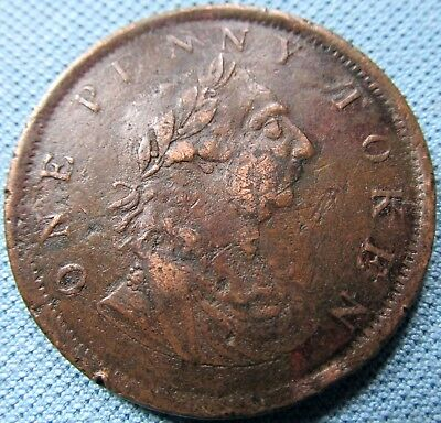 1820 Ireland One Penny Token Copper King George III Harp - Rare RRR Variety?
