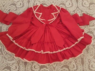 Vintage Girls Toddler Red Ruffled Mary Louise Party Dress Childrens Clothes