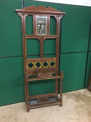 Antique Pine Hall Coat / Stick Stand With Tiles Inset