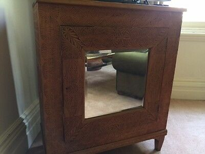 Sideboard - Detailed Engraved Timber with Bevelled Mirror Door