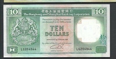 Hong kong 1991 10 Dollars P 191c Circulated