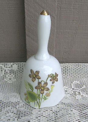 Old Vintage Ceramic Flower / Floral Pattern Bell ~ Mantel Decor
