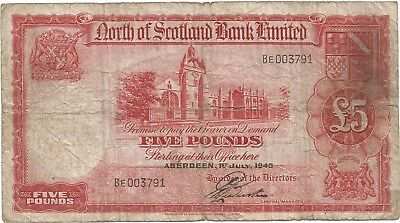 Ck1}Rare North Of Scotland Bank Limited Circulated  £5 G.l.webster 1St Prefix
