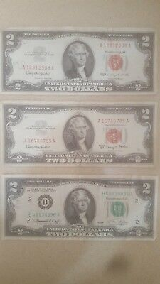 lot of 3 $2 DOLLAR BILL OLD US NOTE LEGAL TENDER PAPER MONEY 1963X2 1976