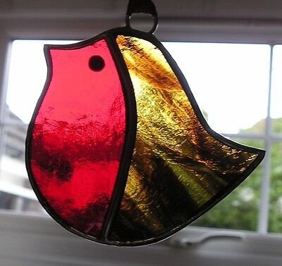 Stained Glass Robin, Suncatcher, Christmas Decoration, Hand Made in England