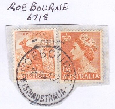 *WA POSTMARKS.ROEBORNE.Type D27a.On 6½d QEII/½d Roo.Rated3.*