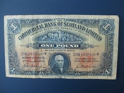 1944 Commercial Bank Of Scotland £1 Banknote F
