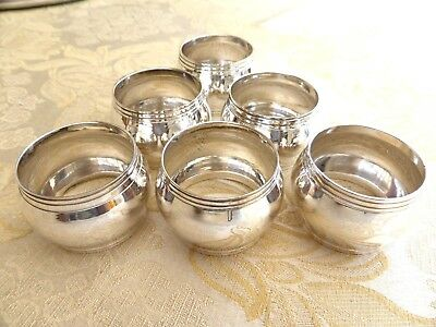 Set Of Six Vintage Silver Plated Band Pattern Napkin Rings    #1310337/341