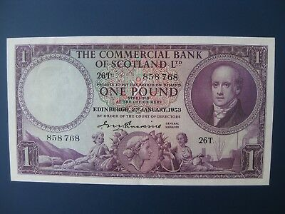 Very Nice 1953 Commercial Bank Of Scotland £1 Banknote Crisp Ef