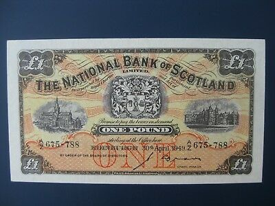 Early Year 1949 National Bank Of Scotland £1 Banknote Crisp Gvf
