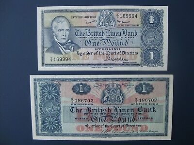 2No. DESIGN TYPES 1962/68 BRITISH LINEN BANK (SCOTLAND) £1 BANKNOTES CRISP GVF