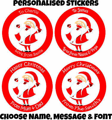 Personalised Christmas Stickers Santa Father Christmas Present Labels add name