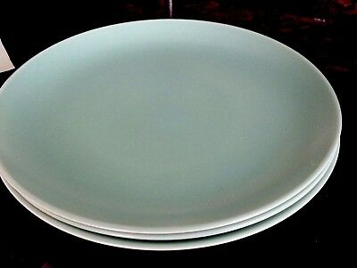 4 Vintage Poole Pottery Ice Green Dinner Plates 9""