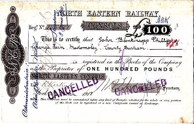 North Eastern Railway Consols Certificate 1918