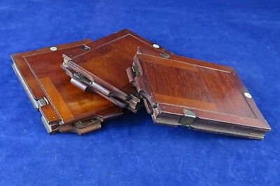 3 Matching c1900 1/4 Plate Camera Book Style Plate Holders Good Condition